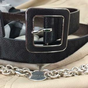 Michael Kors black MK initial logo belt